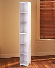 Slim Storage Tower with Six Shelves for Hallways, Closets and Bathrooms - White