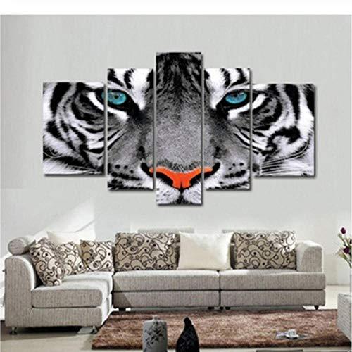 BOMDOW Modern Wall Art Poster Modular Pinturas En Lienzo 5 Unidades Animal Blanco Tiger Eyes Marco De Fotos Decoración De La Sala Home HD Impresiones-30X40Cmx2/30X60Cmx2/30X80Cmx1