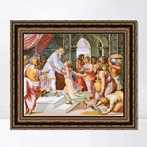 "INVIN ART Framed Canvas Art Giclee Print Series#136 by Raphael/Raffaello Sanzio Wall Art Living Room Home Office Decorations(Vintage Embossed Gold Frame,20""x24"")"