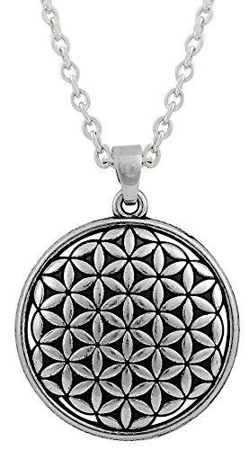 Dawapara Collar con Colgante de Flor de la Vida con símbolo de Kabbalah Antiguo, joyería de bendición Espiritual para Mujer