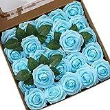 Ksnnrsng Flores Rosas Artificiales Espuma Rosa Falsa para Manualidades, Ramos de Novia, centros de Mesa, Despedidas de Soltera y Decoración del Hogar (25 Piezas, Azul Turquesa)