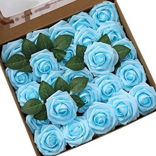 Ksnrang - Rosas Artificiales de Espuma con Aspecto Real de Rosa Fucsia para Hacer Ramos de Boda, centros de Mesa, decoración para el hogar, Teal Blue, 25pcs