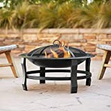 John Timberland Capitan Black Outdoor Fire Pit Round 30' Steel Wood Burning with Spark Screen and Fire Poker for Outside Backyard Patio Camping Deck