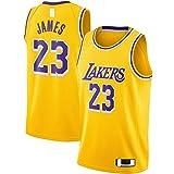 BFDE LeBron Camiseta de baloncesto James Custom Los Angeles Clothing Lakers #23 Swingman Jersey Oro - Icon Edition