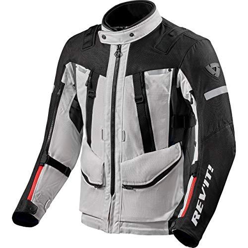 REV'IT! Chaqueta de motorista con protectores, chaqueta de moto Sand 4 H2O textil, para hombre, Tourer, todo el año, poliéster plateado/negro XL