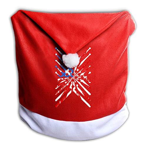 Leila Marcus Fundas de silla de Navidad para baquetas de tambor, gorro de Papá Noel, fundas para sillas de comedor, vacaciones, decoraciones de Navidad,