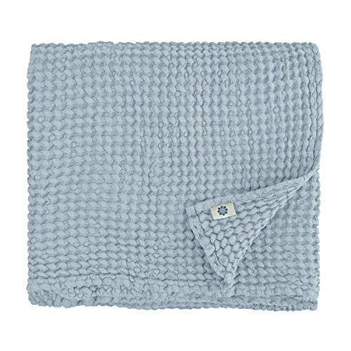 Linen & Cotton Premium-Qualität Waffel Tuch Saunatuch Strandtuch Handtücher Badetücher Duschtücher Gästehandtücher Ezra, 48% Leinen, 52% Baumwolle - 80 x 100cm (Hellblau/Türkis)