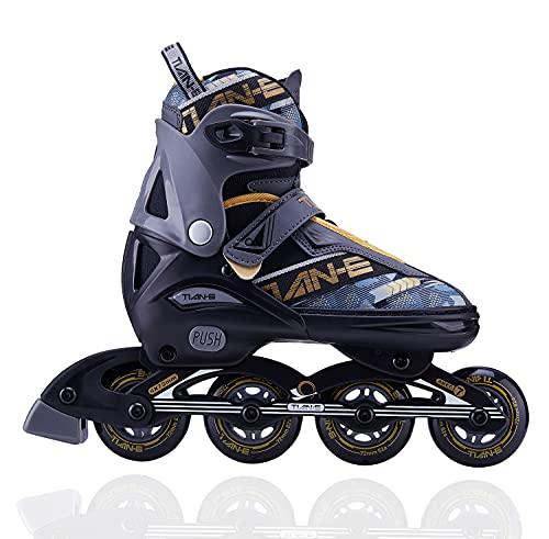 YANHUIGANG Inline Skates Für Kinder Und Herren Damen,31-46 Einstellbare Schuhgröße, ABEC-7 Lager, Doppelt Schuhkopf Kann die Zehen Besser Schützen (Golden, XL 42-45)