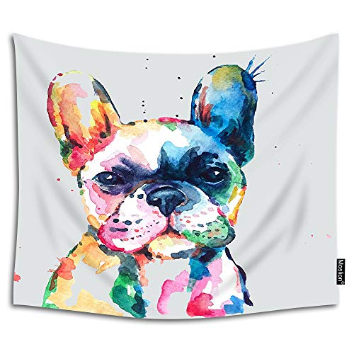 Moslion Watercolor French Bulldog Tapestry Hand Drawn Paint Puppy Funny Animal Cute Lovely Pet Wall Hanging Tapestry for Living Room Bedroom Dorm Home Decorative Polyester 80W x 60H