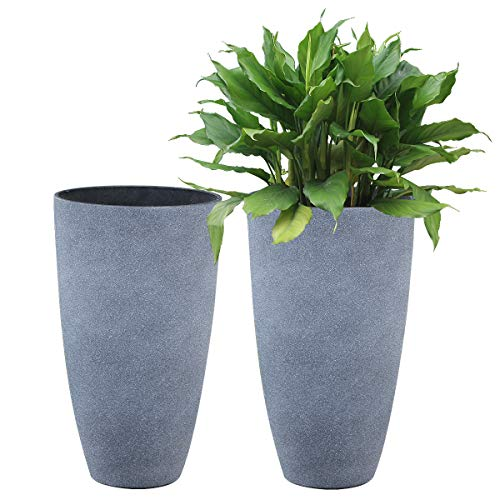 LA JOLIE MUSE Tall Planters Set 2 Flower Pots, 20 Inch Each, Patio Deck Indoor Outdoor Garden Planters,Weathered Gray