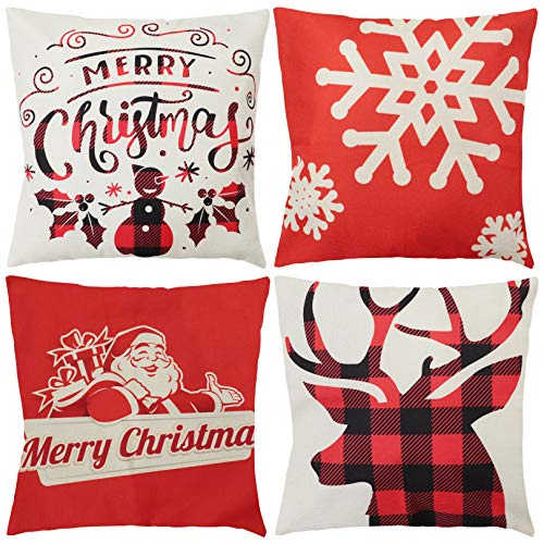 BuenoLife Christmas Pillow Covers Set of 4, 18 x 18 Inch Accent Pillow Cases, Plaid Linen Cushion Decorative Throw Pillow Covers, Square Pillowcase for Sofa Home Office Living Room Holiday Xmas Decor