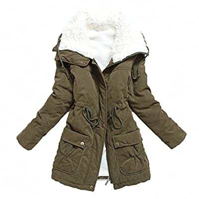 MEWOW Women's Winter Mid Length Thick Warm Faux Lamb Wool Lined Jacket Coat (XXL, ArmyGreen) from