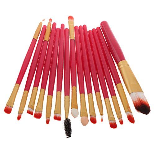 15pcs Makeup Brosse Eyeshadow Foundation Facial Brush Sourcils Cils Contour de Yeux - Roseo, 17,5 x 10 x 2 cm
