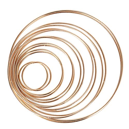 14 Stück 7 Größen Metallringe Drahtring Metall Ringe Hoops für Traumfänger 5/8/10/12/14/16/19cm Traumfänger Selber Basteln Bastelset Mobile Basteln Mobile Ring Gold