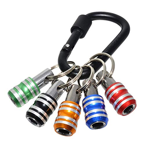 POHOVE 1/4inch Hex Shank Screwdriver Bits Holder Extension Bar Drill Screw Adapter Quick Release Set Keychain Extension Bar Portable Non Slip