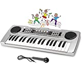 LYBALL Kids Keyboard 49-Key Piano LED Display Electronic Rechargable Piano Keyboard with Microphone Multi Functional Piano for Kids 20.86 Inch (Black)