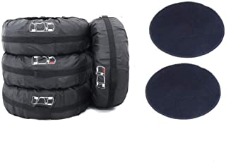 """J&C 66cm Tire Cover Tote Set of 4 with 2 Pcs Wheel Felts Waterproof Dust-Proof Universal Spare Wheel Tire Cover Tyre Protection for SUV Car 14""""- 25"""" Diameter"""