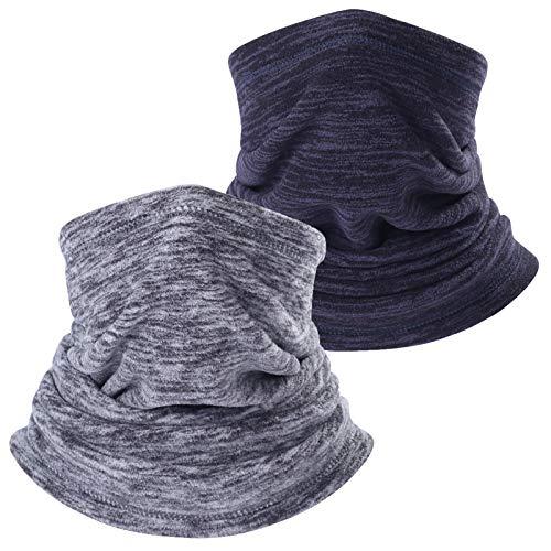 TAGVO 2 Paquetes Calentador de Cuello Polar, cálido y versátil de Invierno Calentador de Cuello Extra Largo y Grueso Tubo del Cuello Capa de Balaclava a Prueba de Viento - Tamaño Universal elástico