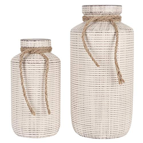 TERESA'S COLLECTIONS Ceramic Decorative Vase, Rustic Farmhouse Flower Vases for Home Decor, Table, Living Room Decoration-Set of 2