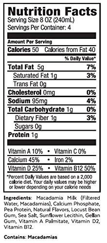 Milkadamia Unsweetened Vanilla Macadamia Milk (32 oz., 2 Count) - Keto, Dairy Free, Vegan, Sugar Free