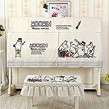 C + - Cubierta vertical para piano de media cubierta para decoración de piano, cubierta para banco de polvo, estilo europeo escandinavo, moda de lujo brillante y linda impresión blanca con volantes