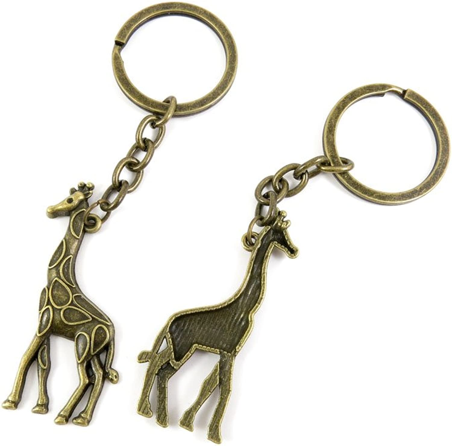 100 PCS Keyrings Keychains Key Ring Chains Tags Jewelry Findings Clasps Buckles Supplies Y4CM1 Giraffe