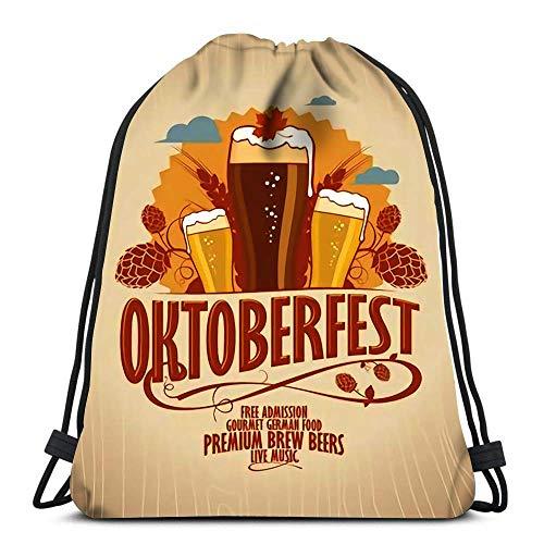 Lmtt Bolsas con cordón Mochila Oktoberfest Vasos de Cerveza en Estilo Retro Fondo de Madera Bolsas de Viaje para Gimnasio Mochila Bolsas de Hombro