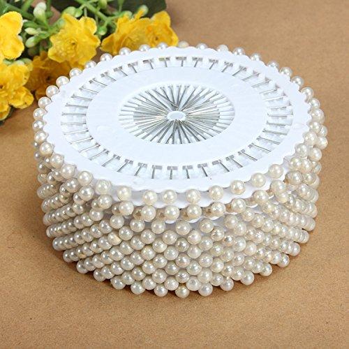 Bureze 35 mm 480 pcs Blanc à tête Ronde Perle Décoration Couture Pin Artisanat