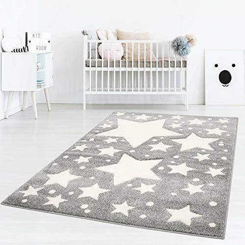 Taracarpet Kinderzimmer und Jugendzimmer Teppich Dreamland Kinderzimmerteppich Sterne grau Creme 140x200 cm