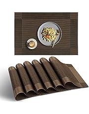 homEdge - Pack de 6 manteles individuales de PVC antideslizantes, resistentes al calor y lavables, color marrón