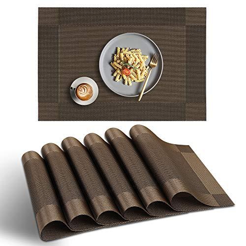 homEdge Mantel Individual, 6 Piezas de tapetes de PVC Antideslizantes Antideslizantes, manteles Individuales de Vinilo Lavables - Marrón