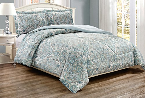 2-Piece Twin Size Fine Printed Comforter Set Goose Down Alternative Bedding (Pale Blue, Grey, Paisley)
