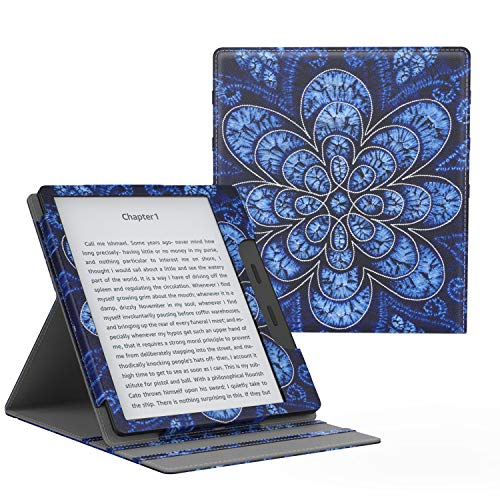 MoKo Case Fits All-New Kindle Oasis (9th and 10th Generation ONLY, 2017 and 2019 Release), Multi Angle Viewing Vertical Flip Cover with Auto Wake/Sleep - Rattan Flower Blossom