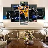 UIOJH Impresión 5 Piezas Cuadro En Lienzo Personalizado Modernos Murales Pared Póster Coche de Fórmula Uno F1 Modular Canvas Prints Oficina Salón Pared Decoracion Enmarcado 100x55cm