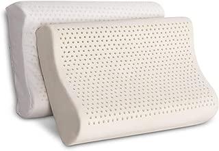 100% Organic Latex Contour Pillow for Neck Pain  Standard Size, Med-Loft, Medium Firm  Organic Cotton Cover, GOTS & GOLS Certified - Cervical Pillow - Ergonomic Contour Design for Spine Support