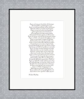 If - Red Border by Rudyard Kipling Framed Art Print Wall Picture, Flat Silver Frame, 17 x 20 inches