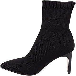 Enkellaarzen Dames, Dames Gebreide Sokken Laarsjes, Puntige Hoge Hakken Dames Rekbare Korte Laarzen,Black,39