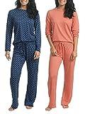 2 Pack: Womens Long Sleeve AOP Striped Pajama Sets Ladies Soft Winter Fall Sleepwear Pajamas Clothes Loungewear Long Sleeve Tops Pants Christmas Pj Sets for Women - Set 1 Large