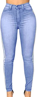 28b58526596f8 GoodLock Women Fashion High Waisted Skinny Jeans Ladies Daily Stretch Slim  Denim Pants Length Jeans