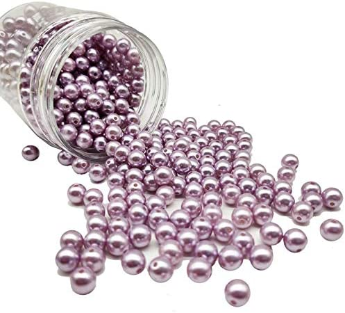 Light Purple Plastic Pearl Beads 8mm for Makeup Brush Vase Filler 400pcs Loose Imitated Beads product image