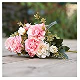 WXL Ramo de flores falsas con 7 tenedores/ramo de peonía de seda para decoración del hogar, flores artificiales de peonía (color: 4)
