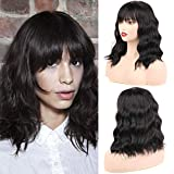 """Huarisi 14""""Synthetic Bob Wig Natural Short Hair with Middle Part Fringe Bangs Heat Resistant Synthetic Hair Wigs with Simulation Scalp Shoulder Length Daily Party Wigs Natural Hairline for Women"""