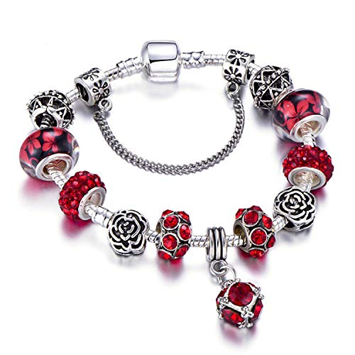 Pulsera Brazalete, Joyeria Regalo, Charm Bracelet Silver Plated Hollow Murano Beads Fit New Original Brand Bracelets For Women Jewelry AE0230 18cm