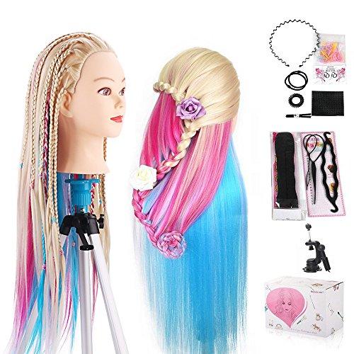 Cabeza Peluqueria, Beauty Star Cabeza Maniqui Peluqueria Pelo Sintético incluye abrazadera soporte y accesorios ideal para Practicar Peinados, 66cm-75cm