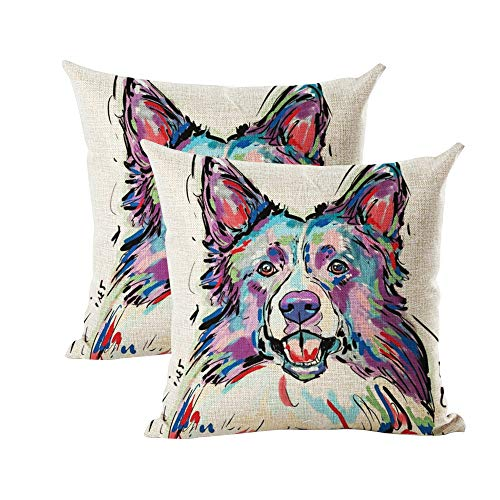 "INSHERE Cute Pet Dog Border Collie Pattern Pack of 2 Throw Pillow Covers Cotton Linen Cushion Cover Pillowcases Sofa Home Decor 18""x 18"" (Dog 14)"