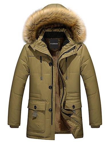 Menschwear Uomo Jacket Down Puffer Giacca Foderato di Pile Incappucciato Piumino Collare di Pelliccia Addensato (L,Beige)