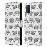 Head Hülle Designs Offizielle Charlotte Winter Elefant Weiss Tiermuster Leder Brieftaschen Handyhülle Hülle Huelle kompatibel mit Samsung Galaxy A51 (2019)