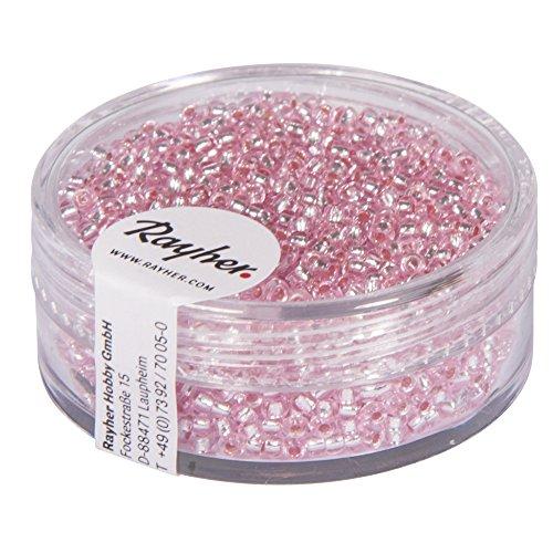 Rayher 1406416 Rocailles, 2 mm ø, mit Silbereinzug, rosé, nicht waschbar