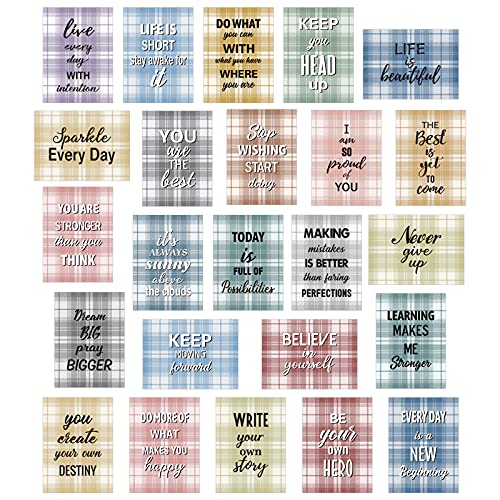 """Whaline 50 Pack Motivational Cards 25 Designs Inspirational Quote Cards Colorful Plaid Pattern Positive Encouragement Greeting Cards Kindness Note Cards for Graduates Students Employees, 2.5 x 3.5"""""""