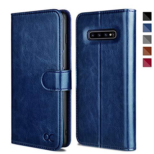 OCASE Galaxy S10 Hülle Handyhülle [Premium Leder] [Standfunktion] [Kartenfach] [Magnetverschluss] Schlanke Leder Brieftasche Hülle für Samsung Galaxy S10 Geräte Blau